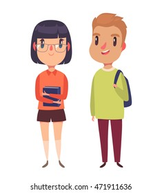 High school / college students. Boy and girl. Vector character.