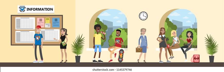 High school, college or university hall interior. Students having fun chsttin together. Vector flat illustration