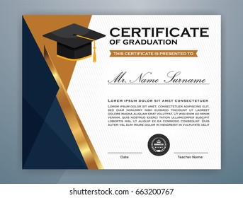High School Diploma Certificate Template Design with graduate cap for Print. Vector illustration