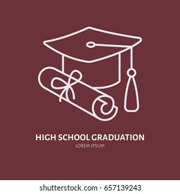 High school graduation line icon. Linear illustration of college diploma scroll and traditional hat.