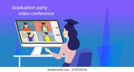 High school graduation party video conference. Last call  students  online meeting.