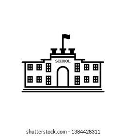 High school icon vector. School icon illustration. Trendy flat design style on white background.