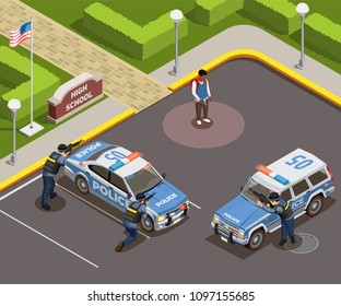 High school isometric people composition of outdoor police cordon with cars armed policemen and killer schoolboy vector illustration