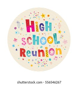 high school reunion decorative lettering text card