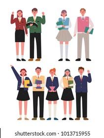 high school students boy and girl set uniform character vector illustration flat design