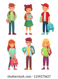High school students. Kids pupils with globe, books and backpack. Schools children pupils smart boy and girl, pupil international class characters cartoon vector isolated icon set