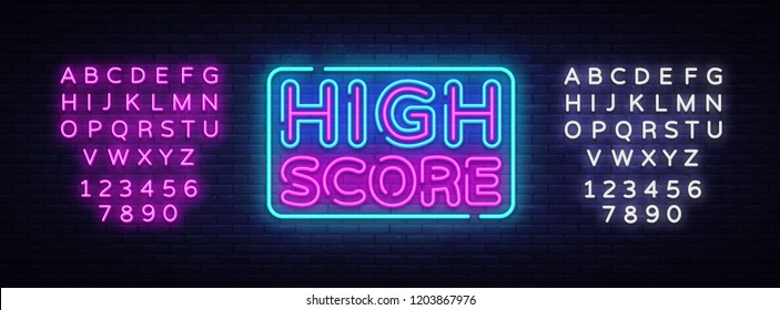 High Score Neon Text Vector. High Score neon sign, design template, modern trend design, night neon signboard, night bright advertising, light banner, light art. Vector. Editing text neon sign