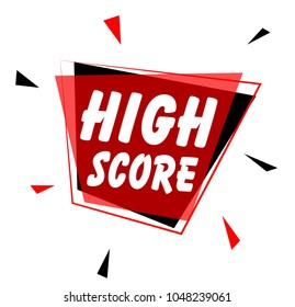 high score, sign with red label