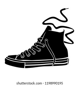 High sneaker with a long lace. Vector stylized black and white image.