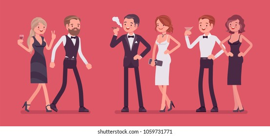 High society party. Group of rich, powerful, and fashionable people in evening dresses enjoy life at luxury party, wealth and social status elite club gathering. Vector flat style cartoon illustration