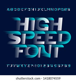High Speed alphabet font. Fast wind effect modern type letters and numbers. Stock vector typescript for your design. Easy color change.