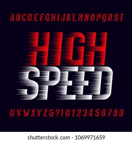 High speed alphabet font. Wind effect type letters and numbers on dark background. Stock vector typeset. Easy color change.
