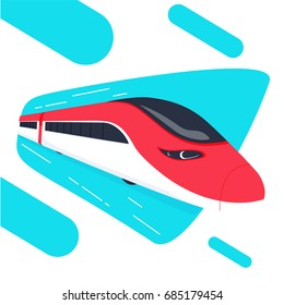 High speed bullet train come out from the circle, modern flat design, vector illustration. Speedrails train abstract concept
