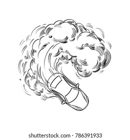 High speed car in a drift, with smoke from under the wheels, enters a sharp turn. Drifting Race Auto. Extreme Motor sport Contour Vector illustration. Hand drawn Sketch, black lines for coloring book