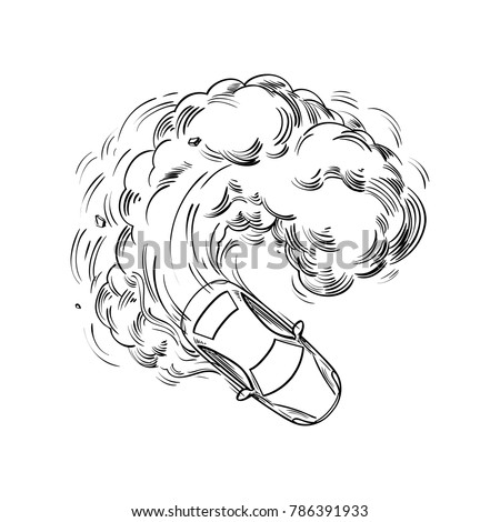 High Speed Car Drift Smoke Under Stock Vector Royalty Free