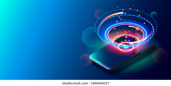 High Speed Communications with World Wide Web from Anywhere in World via Phone Mobile Internet. Modern Smart Phone on Smooth Dark Blue Surface. Realistic Vector Illustration New Mobile Cellphone.