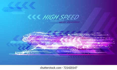 High speed concept. Cheetah in motion in the form of a starry sky or space, consisting of point, line, and shape in the form of planets, stars and the universe. Vector wireframe concept. Blue purple