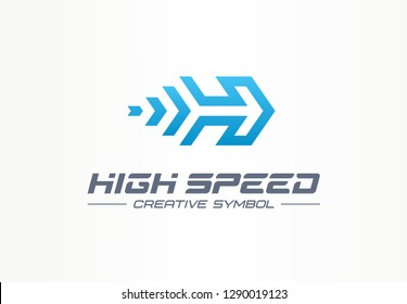 High speed creative sport symbol concept. Power accelerate race in arrow growth abstract business logo. Rocket forward, next movement process icon. Corporate identity logotype, company graphic design