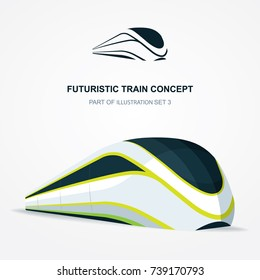 High speed futuristic train  illustration and logo. Flat design template.