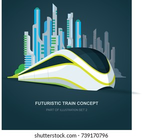 High speed futuristic train illustration. Flat design template.