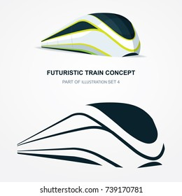 High speed futuristic train logo and  illustration. Flat design template.