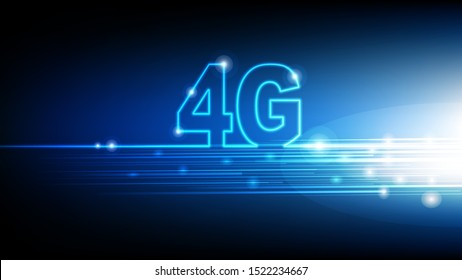 High speed internet 4G technology with blue abstract futuristic background, Vector illustration