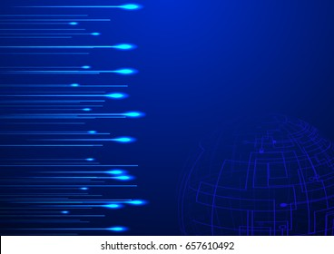 High speed lights with abstract globe vector technology concept design