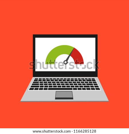 High Speed Performances Computer Online Laptop Stock Vector (Royalty