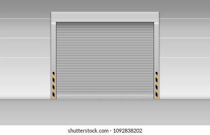 High speed rolling door of storage warehouse., Shutter door, Vector, Illustration.