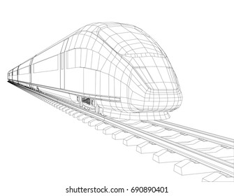 High speed train in motion. Vector rendering of 3d. Wire-frame style