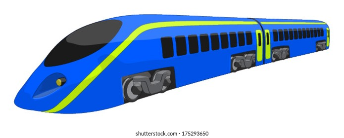 High Speed Train -  Vector Artwork (isolated on white background).