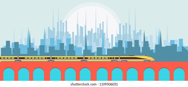 High speed yellow passenger train against city building bullet vector flat illustration design icon. Metro rail silhouette technology. Express railway maglev wagon track. Subway intercity travel.