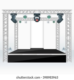 high stage metal truss with moving light heads devices scene background vector illustration