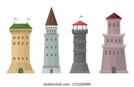 High Stone Towers with Castellation Walls and Windows Vector Set