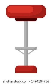 High stool with red cloth, isolated icon of chair with metal stand. Classic design of nightlife establishments, pub or bar barstool furniture. Vector illustration in flat cartoon style