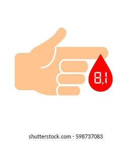 High sugar in blood, diabetes icon vector illustration on white background. Flat web design element for website, app or infographics materials.