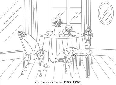 High Tea Classic Vintage Room Vector Line Art