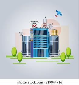 high tech building. future  concept with satellite system - vector illustration