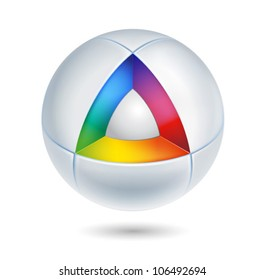high tech colorful abstract icon - 3d vector