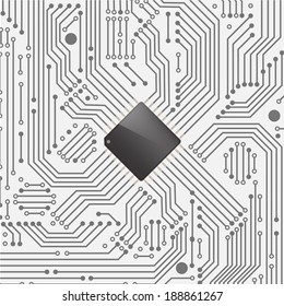 High tech electronic circuit board with processor ,Vector illustration