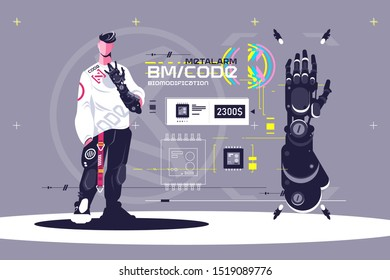 High technological biomodification vector illustration. Male standing and showing off new sci-fi modified hand. Cyborg man looking at metallic limb. Cyberpunk concept