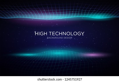 high technology business background template design with abstract glowing wave with modern concept and futuristic design vector eps 10
