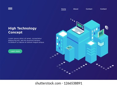 High technology concept. Landing page template. Header for website.  Isometric vector illustration
