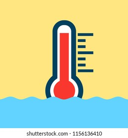 High temperature of the warm water - hot and boiling liquid is measured by thermometer. Vector illustration