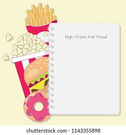 High trans fat food with note pad cartoon vector.