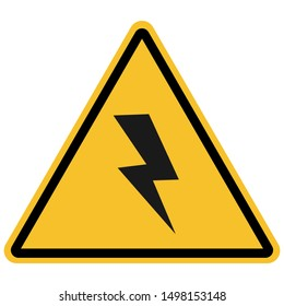 High voltage danger sign, safety vector illustration.Yellow,black. Great for icon,symbol,sign,warning,banner,caution label etc.