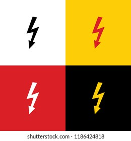High voltage danger sign. Vector. Icons of german flag on corresponding colors as background.