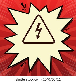 High voltage danger sign. Vector. Dark red icon in lemon chiffon shutter bubble at red popart background with rays.