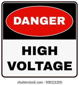 High Voltage. Danger Sign. Vector illustration