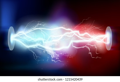 High voltage electric discharge. Vector illustration.